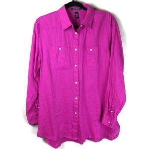 Lauren Ralph Lauren Pink Linen Button Up Tunic